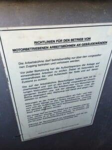 HIRO-Fensterputzaufzug-Richtlinien
