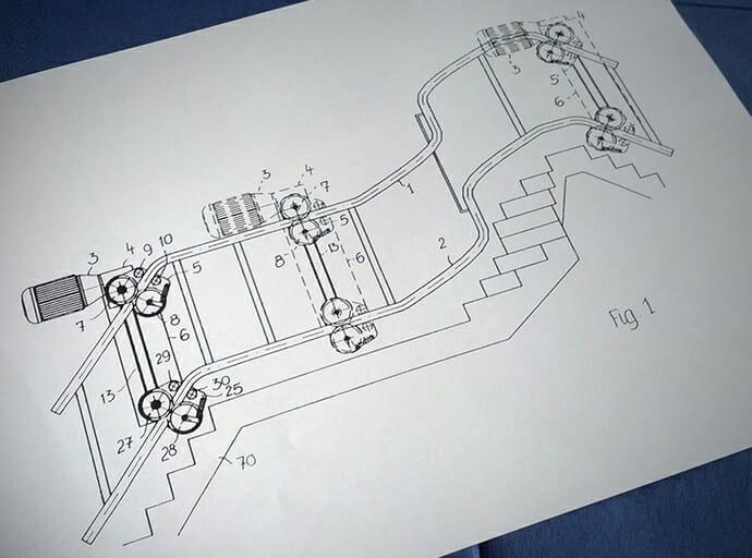 Patent-Skizze des Traktionsantriebes