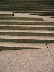 In Treppe integrierte Rampe
