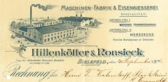 Briefkopf Hillenkötter & Ronsieck von 1904