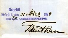 1898 geprüft vom Gewerbeinspektor