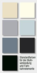 Standardfarben für die Stuhlverkleidung und die Fahrbahnelemente