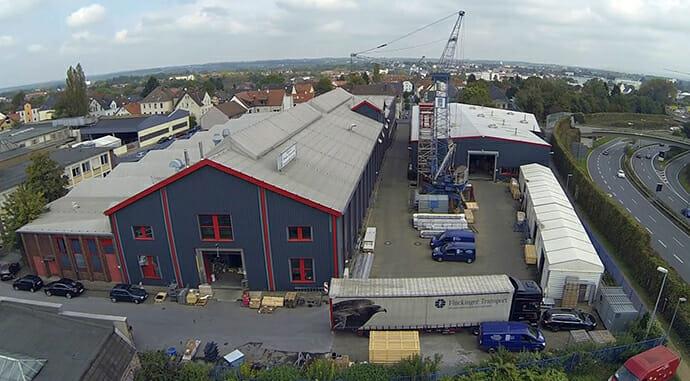 Luftaufnahme der Produktionsstätte für den Imagefilm