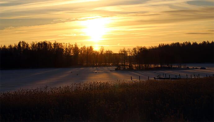 später Sonnenaufgang zur Sommerzeit