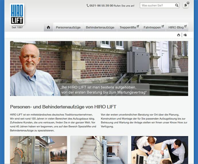 Neue Internetseite für HIRO-Aufzüge