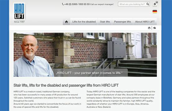 Die Startseite unserer neuen, englischssprachigen Homepage www.hirolift.com.