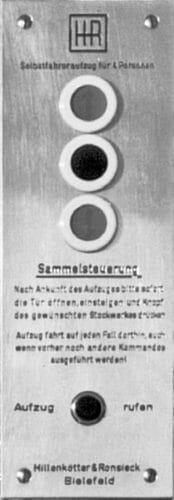Bedienelement eines Personenaufzugs aus den 50er Jahren