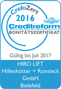 Bonitätszertifikat CrefoZert der Creditreform für HIRO LIFT