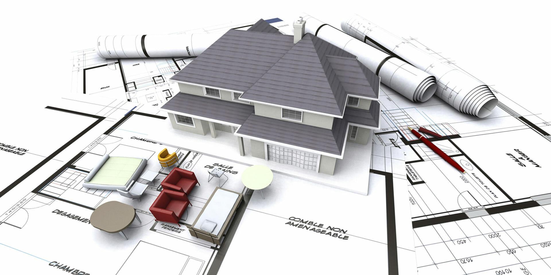 Planungsskizze für den Neubau eines Hauses