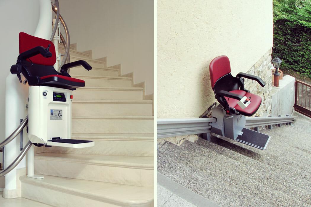kurviger und gerader Treppenlift